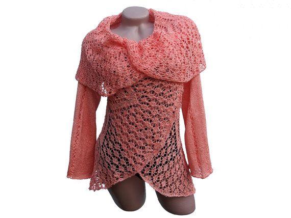 Crochet womens sweater Hand knit cardigan sweater by CleopatraArt