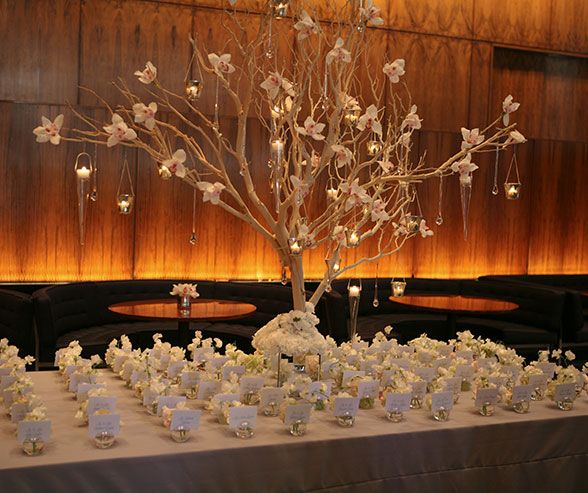 A place card table looks refined and elegant when holders are placed in uniform rows.
