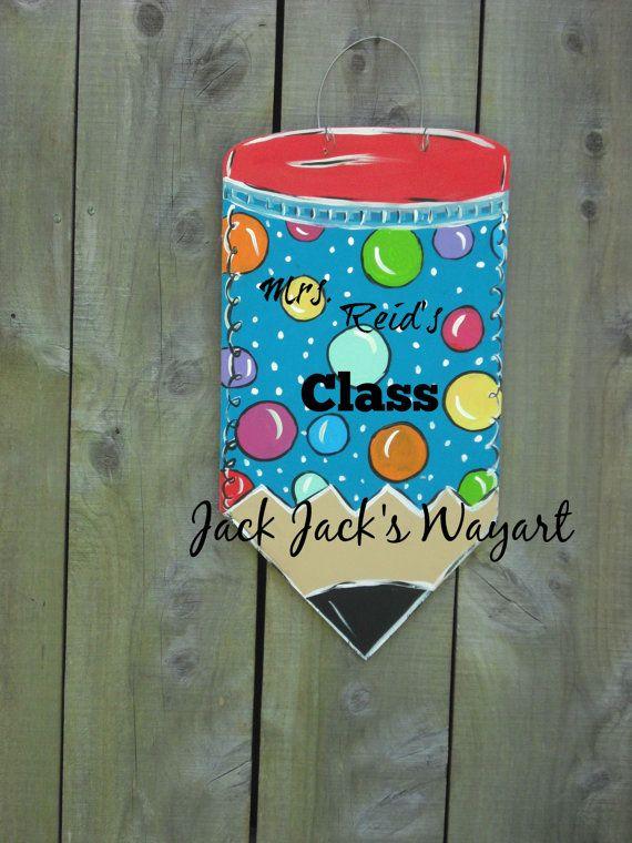 READY TO SHIP Pencil door hanger Teacher Door by JackJacksWayart
