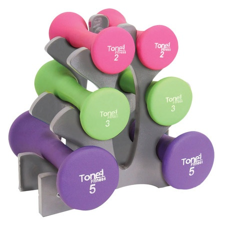 6 Piece Tone Fitness Dumbbell Set with Rack