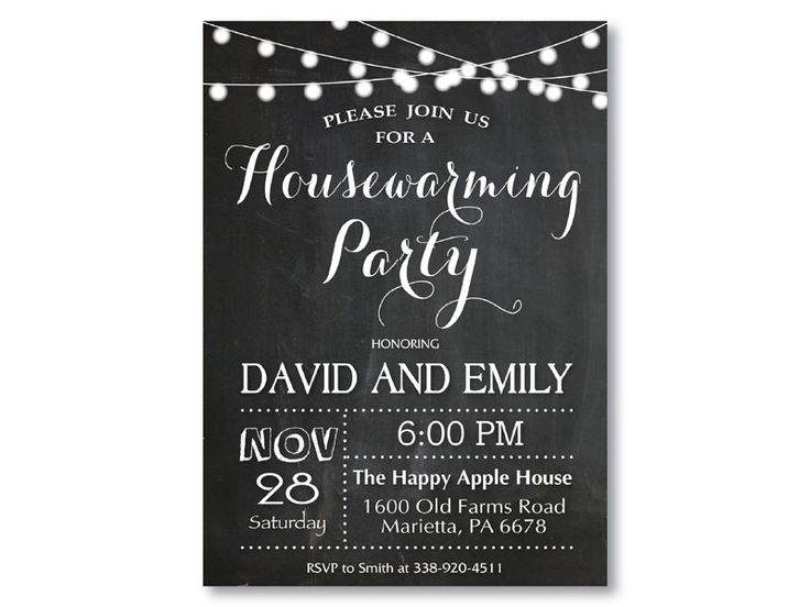 Housewarming Party Invitation. Chalkboard Housewarming. String Lights. Black and White. New House Moving. Printable Digital. by happyappleprinting on Etsy https://www.etsy.com/au/listing/265188454/housewarming-party-invitation-chalkboard