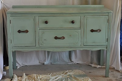Distressed and stained old dresser