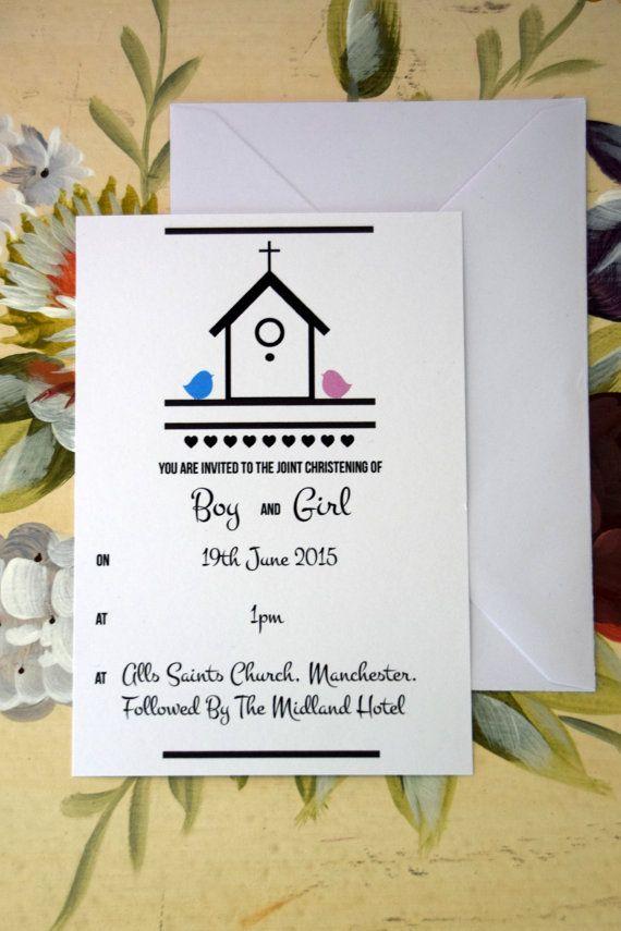 Personalised Christening Invitation. Love Bird by VRostockDesign