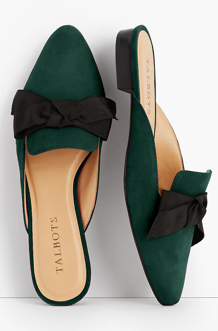 Emerald bow mules