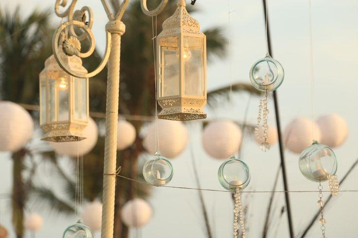 Vintage standing lamp,hanging bowl beads www.nouadecor.com