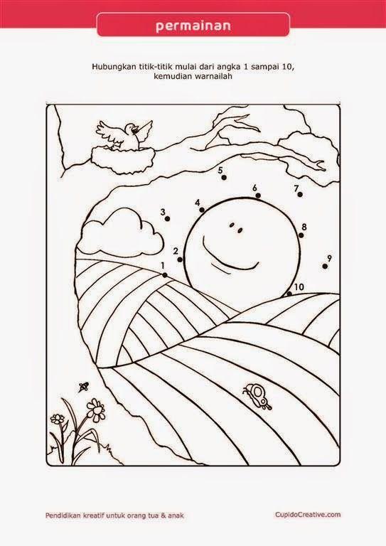Belajar PAUD : urutan angka dengan lembar permainan dot to dot (menghubungkan titik) sambil mewarnai gambar matahari