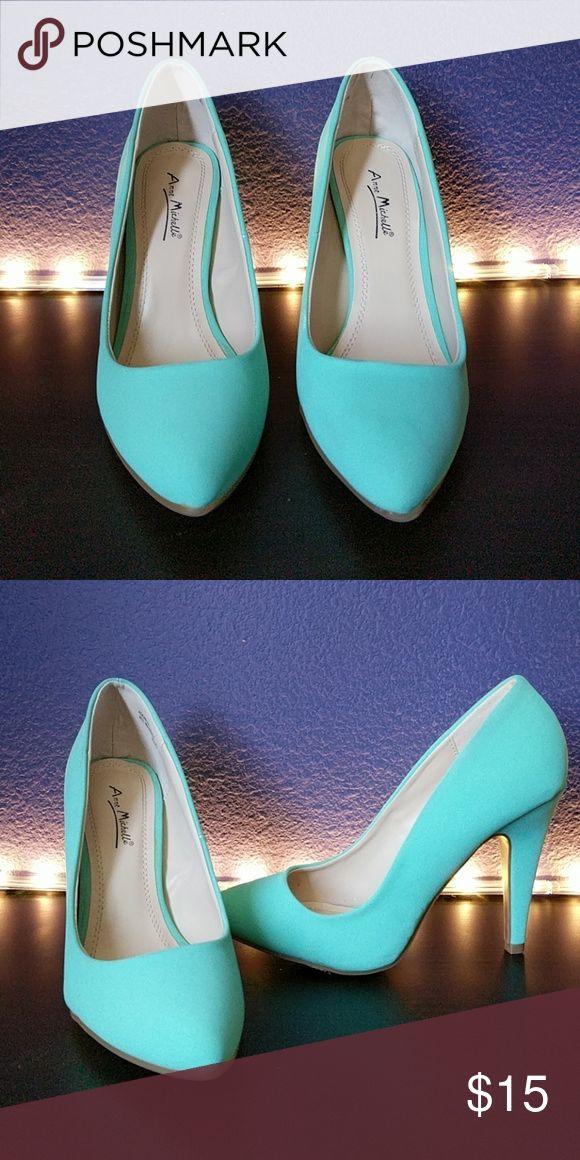 Mint pumps 4in, mint pumps Anne Michelle Shoes Heels