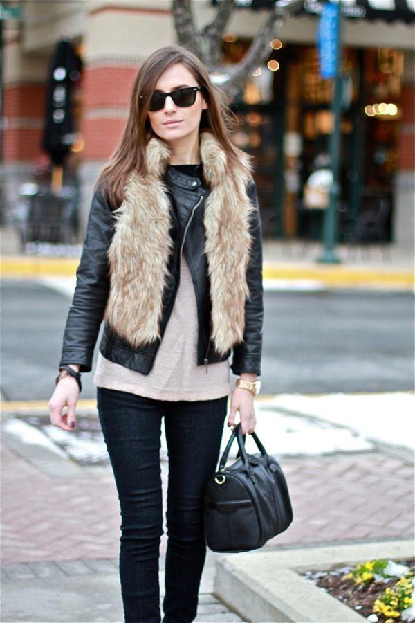 Leather Jacket + Faux Fur Vest