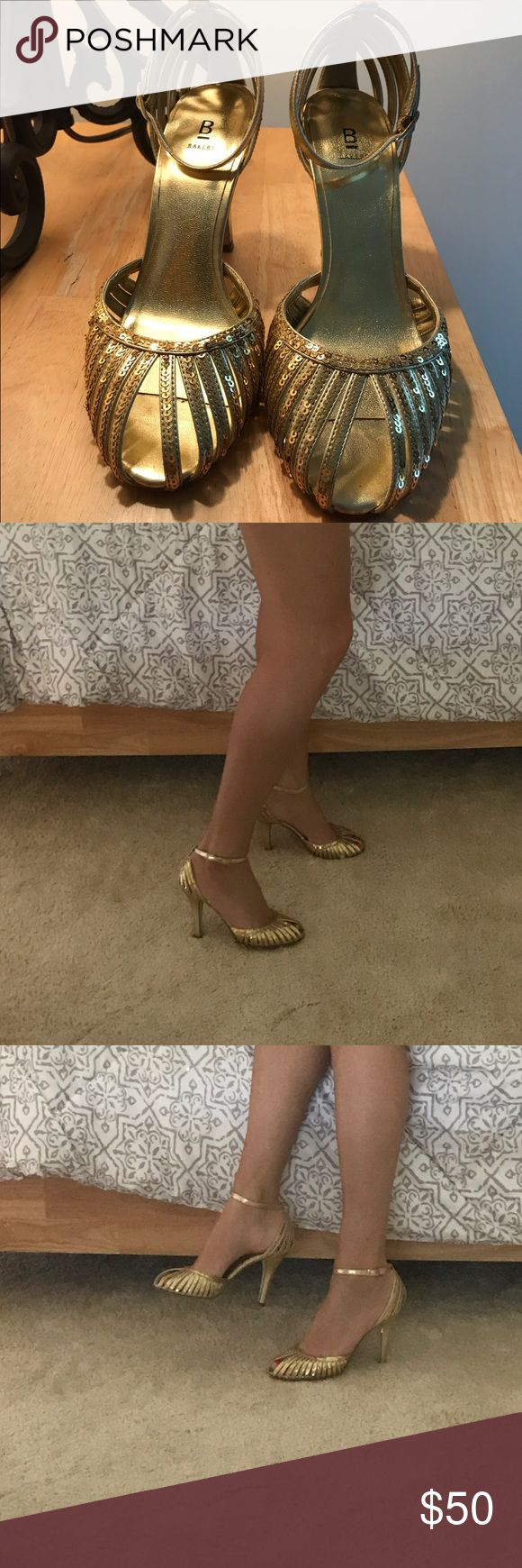 """Bakers """"Brooke"""" Gold peep toe heels ankle strap Sequin gold peep toe heels with ankle strap/buckle. Has a few nicks on the heels and worn once. Gorgeous shoes for wedding, prom, dance, or a night out on the town! I usually wear a size 8, but these are 7 1/2 and fit me perfectly. Bakers Shoes Heels"""