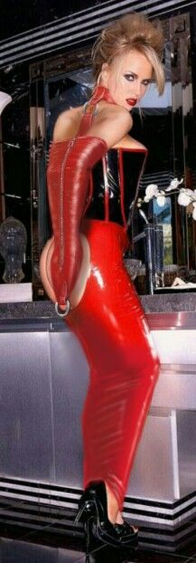 Red latex hobble skirt and leather mono glove