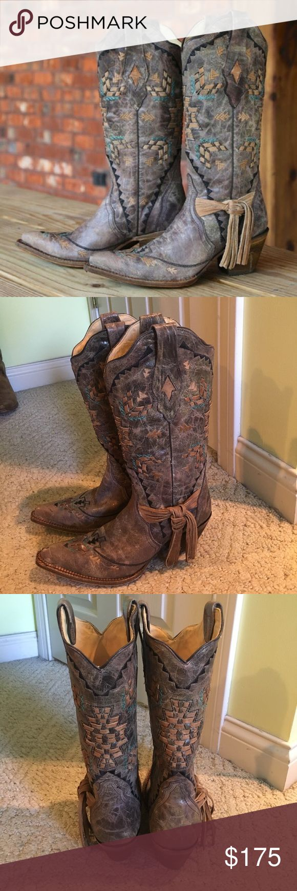 Coral Boots tobacco laser woven  style: A2992 Brand new! Never worn! I will ship them in the original box. Size 8 Corral Shoes Heeled Boots