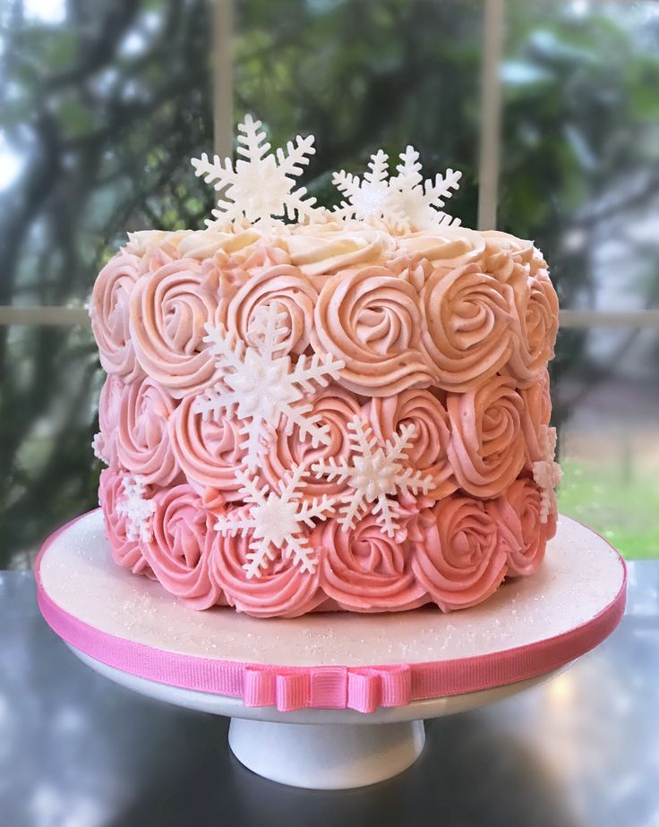 Pink Winter Wonderland Buttercream Rosettes Cake Pink