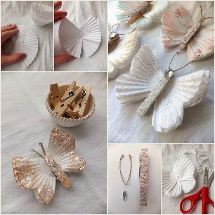 Schmetterlinge machen mit Cupcake - Papierförmchen, einer Wäscheklammer, Glitter und Klebstoff.Wunderschön!