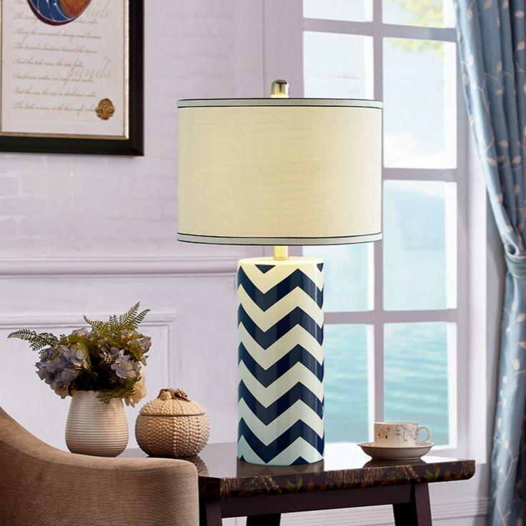 Средиземное Море Сельских Волна Дизайн Керамической Ткань Led E27 Настольная Лампа Для Гостиной Спальня Исследование H 66 см 1424купить в магазине Y3 lighting StoreнаAliExpress