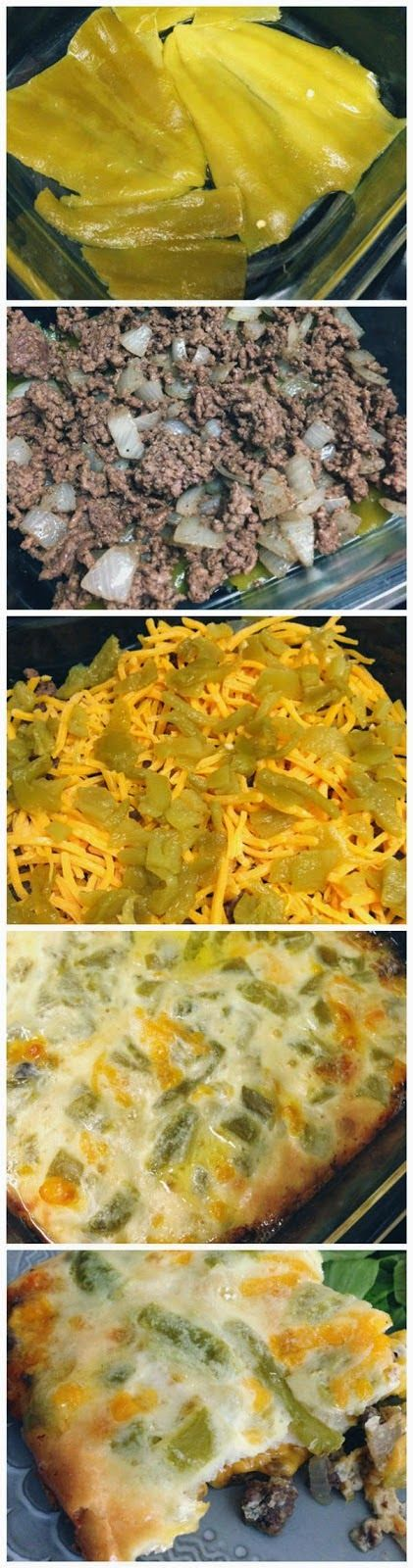 Chile Rellenos Casserole- doubled the meat and made with all purpose flour but only 14 carbs for the whole dish- I'll use Jalapenos because my family likes it hot!