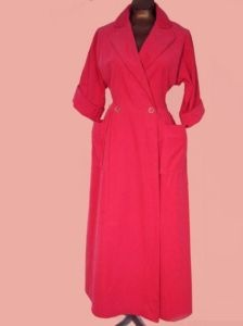 Vintage 50s Lucy Robe Deep Pink Corduroy House Coat Dressing Gown Rhinestone M/L