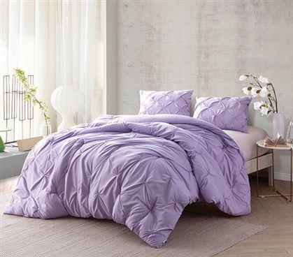 Orchid Petal Pin Tuck Twin XL Comforter Dorm Bedding Extra Long Twin Comforter