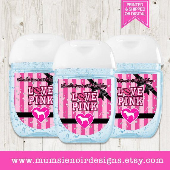 Victoria Secret Love Pink Hand Sanitizer Labels Love Pink