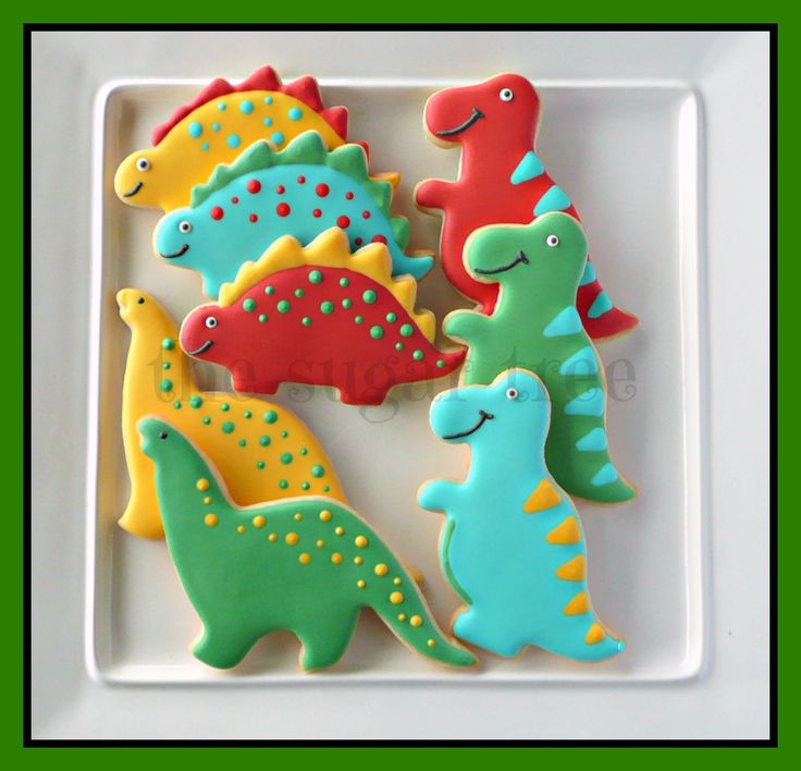 Dinosaur cookies Christmas colors and maybe some marzipan polka dots?