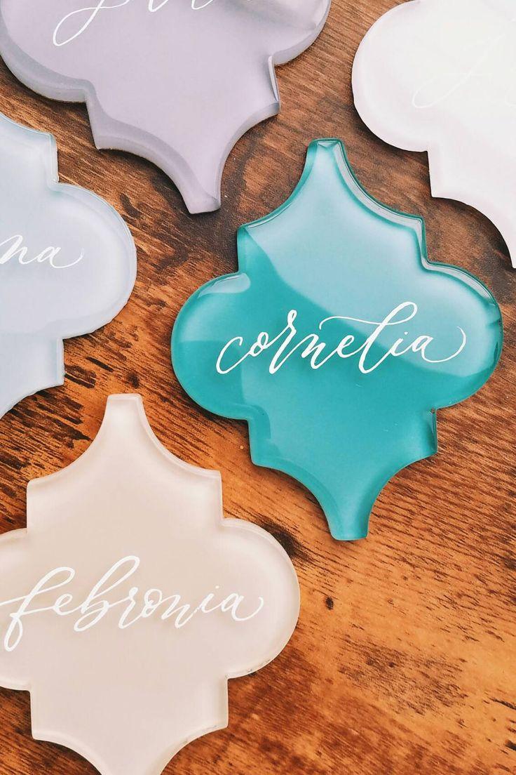 hand lettered wedding favors / tiles