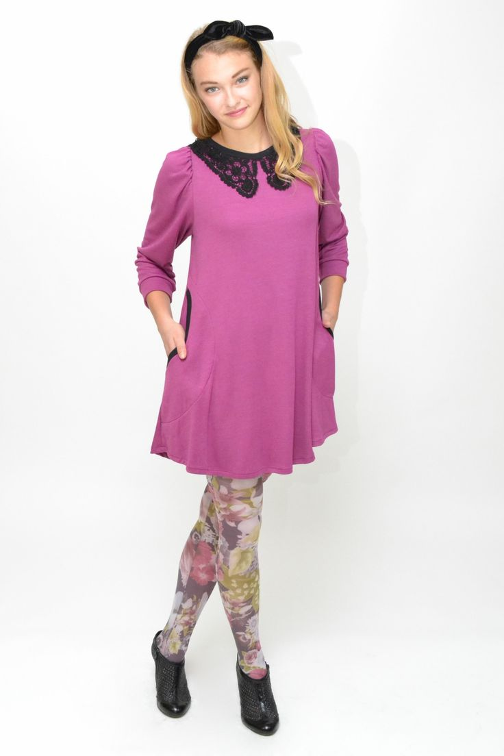 Soft purple tunic dress with 3/4 sleeves. Peter pan black cotton lace collar and gingham belt tie. Round side pockets.