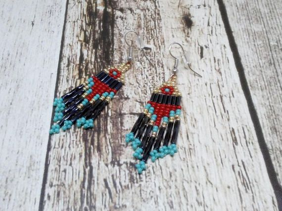 Red & Turquoise Short Dangle Beaded Earrings | Bohemian Style Tiny Earrings #Handmade #Beaded