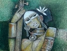 Lady with Veena Painting By Selvaraj A