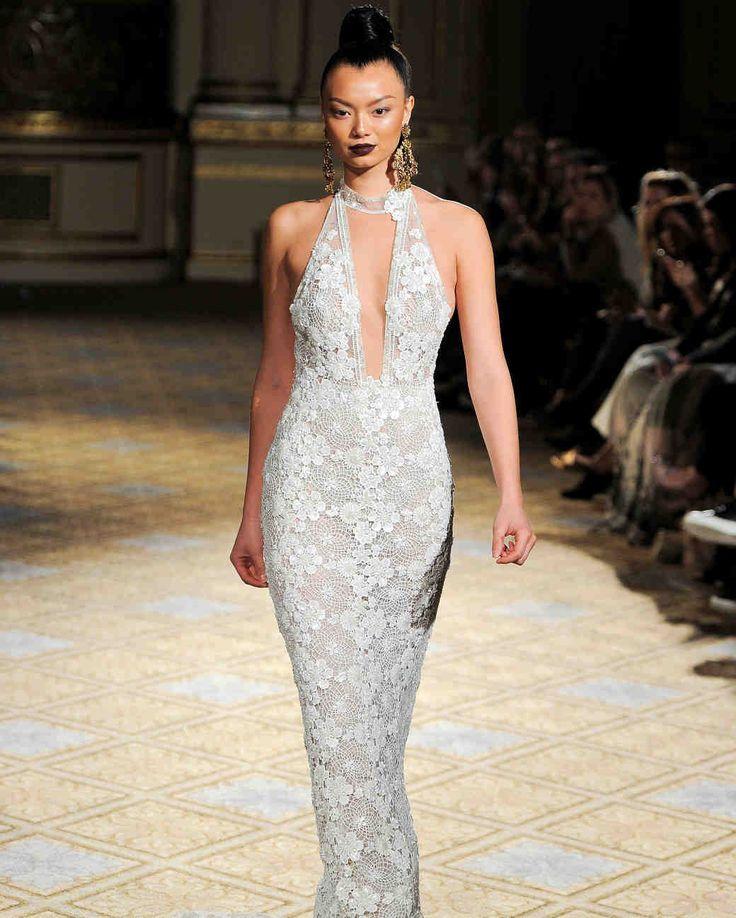 Elegant Berta Spring Wedding Dress Collection Martha Stewart Weddings u Halter lace wedding dress