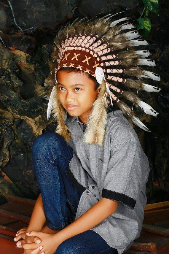 Pour enfants / enfants: trois couleurs chef indien coiffe de plumes / Warbonnet natif américain pour les plus petits