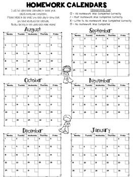 Looking for a quick and easy way to track each child's homework completion each day? These monthly calendars are easy to use and will help keep your students and their parents aware of how often they complete their homework.  *Updated for 2014-2015* I have included a homework calendar for each month of the 2014-2015 school year on one page (back to back).