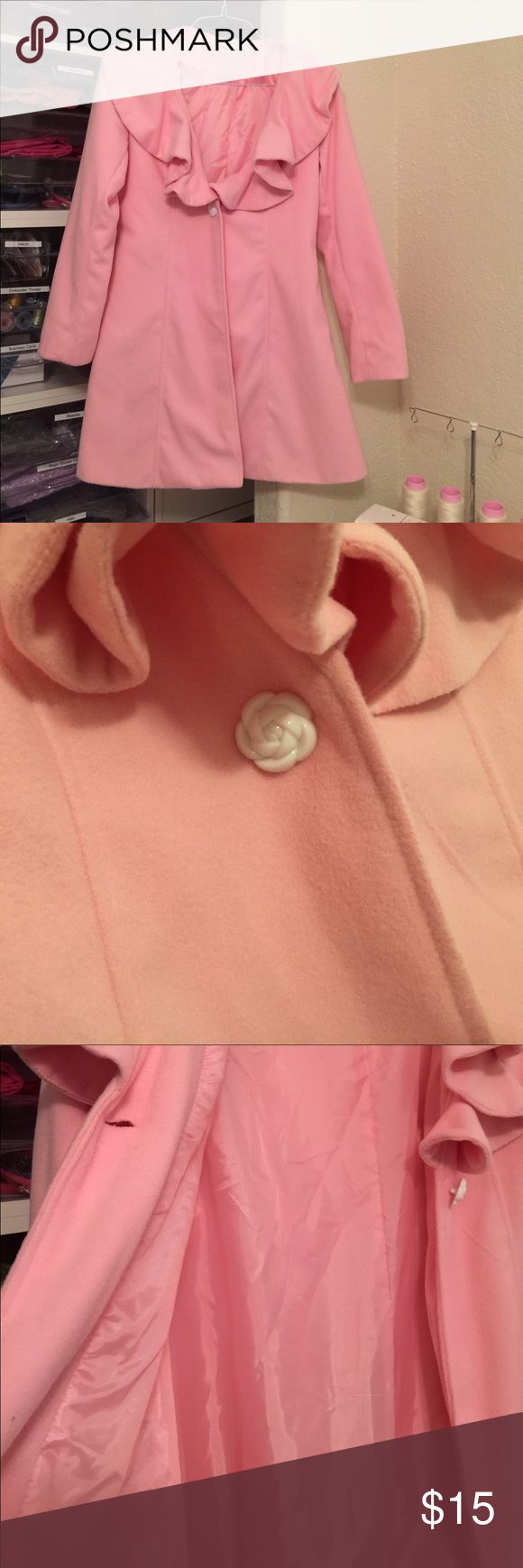 """Pink Felt Satin lining Coat. Very cute pink one rose button coat. 32"""" length, sleeve length is 24 1/2"""", waist is 35"""".   Wide ruffle collar.  This coat would be perfect with black leggings and knee high boots. Will easily fit a size 5 to 8. Perfect for Fall temperatures. Jackets & Coats"""