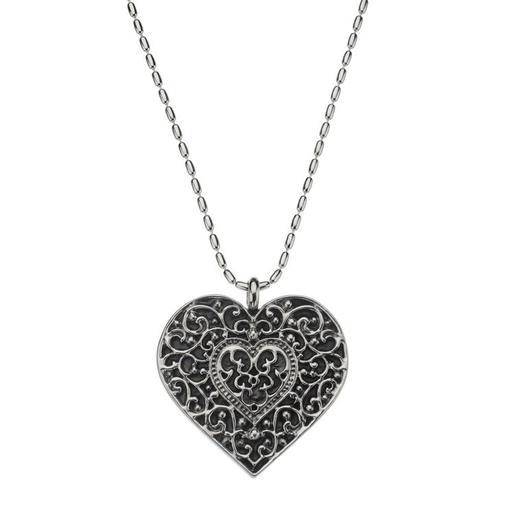 Heart of Darkness Necklace: Capturing the world's most romantic icon in glorious bohemian style, you'll love the wardrobe options this gorgeous pendant brings. Master craftsmen have oxidised and electroformed Mexican sterling silver before sculpting this riot of exquisite patterning. Add armfuls of different sized bangles for the ultimate carefree bohemian-luxe look. (oxidised sterling silver, heart pendant & 75cm long chain)