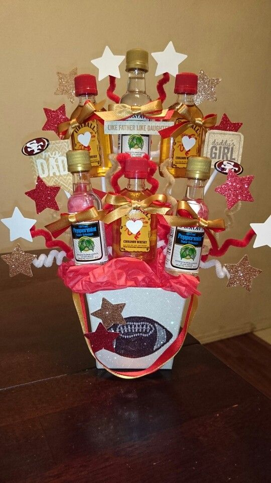 Father's Day SF 49ers Red Gold Alcohol Bouquet Shots Fireball Peppermint Schnapps Stars