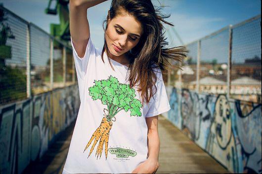 bluzki - t-shirty - damskie-MARCHEW Oversize T-shirt