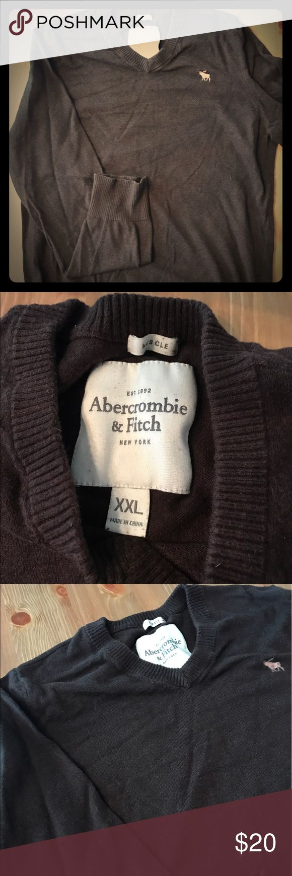 Abercrombie & Fitch Men's V Neck Sweater Chocolate brown mens Abercrombie and Fitch muscle fit v neck sweater. Lightly worn Abercrombie & Fitch Sweaters V-Neck