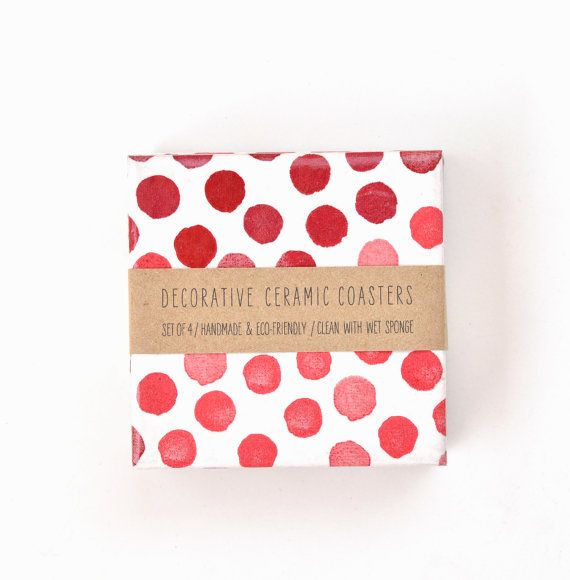 Red Dots Ceramic Tile Coasters Raspberry Watercolor by Tilissimo, $27.00