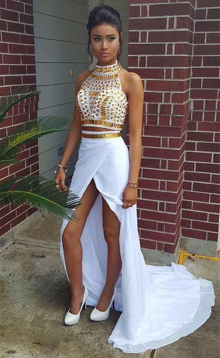 Cheap dress montage, Buy Quality dresses dress directly from China dress santa Suppliers: African prom dress High Neck White and Gold Prom Dresses 2016 Floor Length Crystal Beaded Fitted Mermaid Two Piece Prom