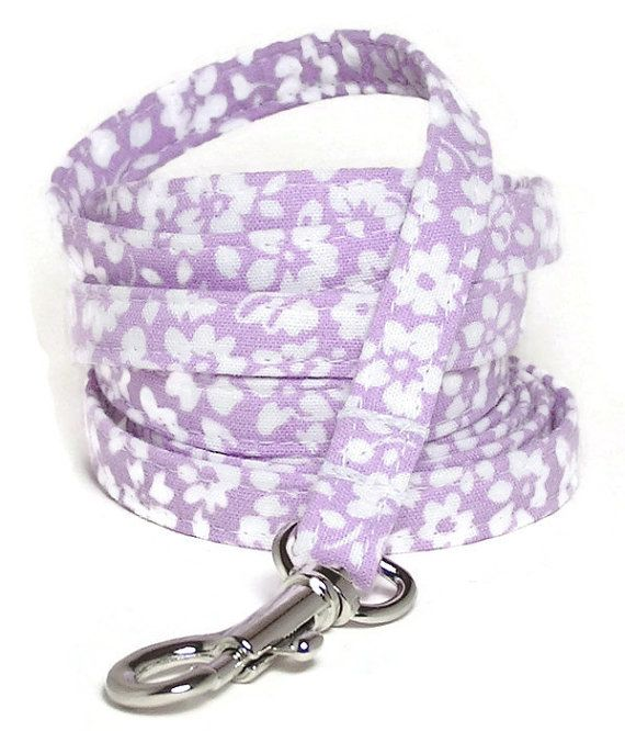XS Leash  White Flowers on Pale Purple  3/8 wide 4 by PawsnTails