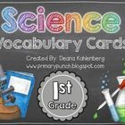 This packet contains vocabulary cards to teach the 1st Grade essential science standards.  The packet has over 150 vocabulary word cards containing...