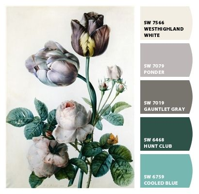 muted florals beige greige grays cool tones teals blues bedroom office basement kitchen wedding branding marketing scheme palette Paint colors from #ChipIt by #SherwinWilliams