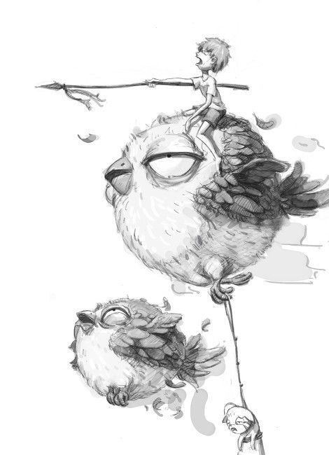 Angry birds! Hoooooe! he he - Bird and little boy character concept sketch