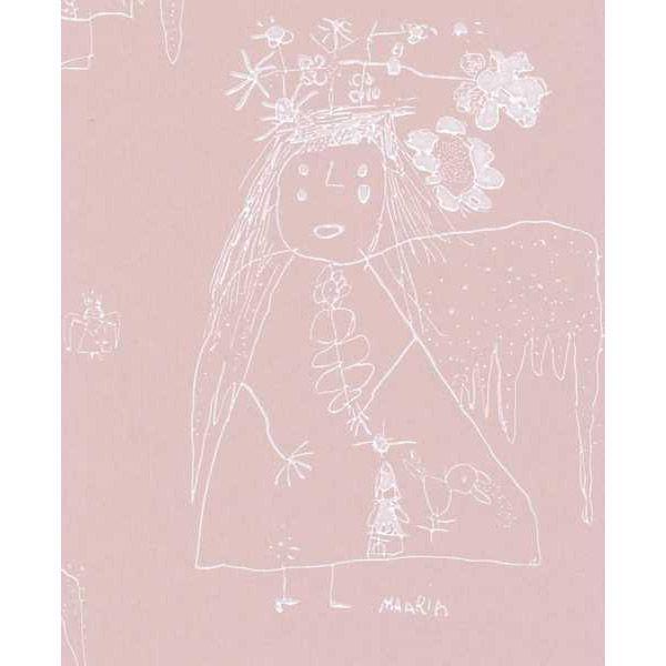 Enkeli wallpaper, rose, by Pihlgren & Ritola.
