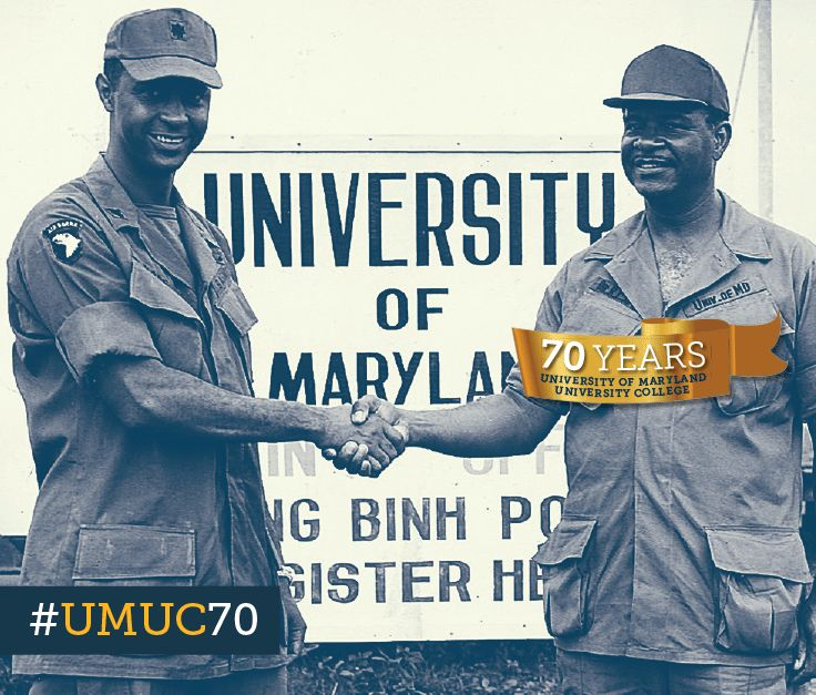 Lt. Col. Herman L. Wade greets UMUC faculty member Robert Lewis Gill at Long Binh Army Post in Vietnam, 1971. #ThrowbackThursday #umuc70