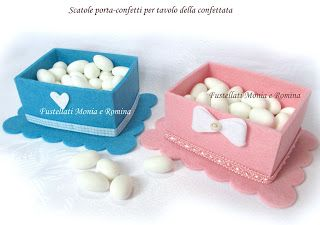 kit feltro scatola bauletto cofanetto scatolina bomboniera fai da te idea regalo pannolenci porta confetti cestino