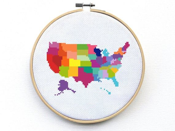 United States Map Cross Stitch Kit Modern Colorful Map Cross