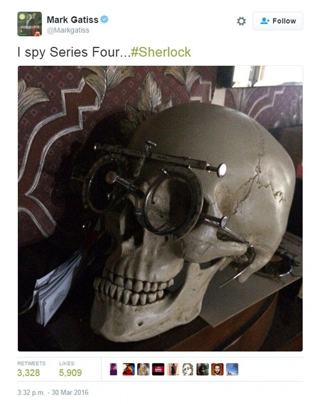They're back! Sherlock co-creator Mark Gatiss has sent twitter users into a frenzy when he shared a snap of Sherlock's in-house skull sporting bizarre glasses, much to the delight of his 634,000 followers