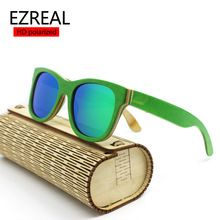 skateboard wooden sunglasses polarized sunglasses Oculos de sol men green wooden sunglass retro vintage wood bamboo sunglasses(China (Mainland))