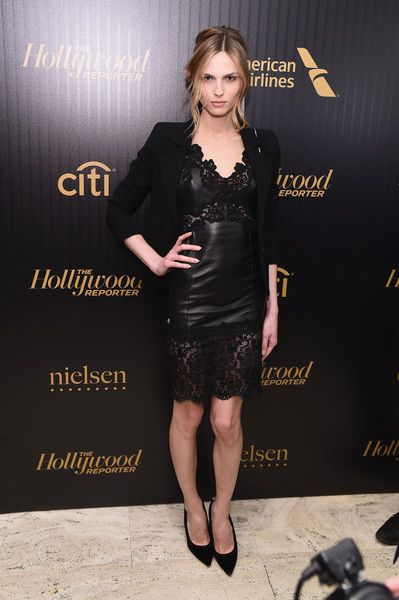 Andreja Pejic Leather Dress - Andreja Pejic looked seductive in black leather and lace at the Hollywood Reporter's 35 Most Powerful People in Media event.