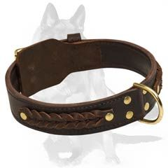 #Wide 2 #Ply #Leather #Dog #Collar with #handcrafted #Braids for #German #Shepherd $39.90 Our craftsmen not only have made this #Collar the #most #reliable, but also have #adorned it with #decorative #braids, which will add to your #Pet's look a bit of #glamor and #aristocratic #daintiness.