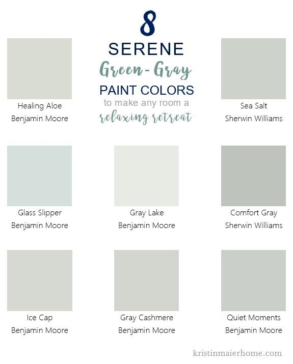 8 Serene Green Gray Paint Colors Kristin Maier Home Green Grey Paint Room Paint Colors Grey Paint Colors